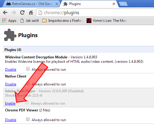 How to enable Flash in Google Chrome